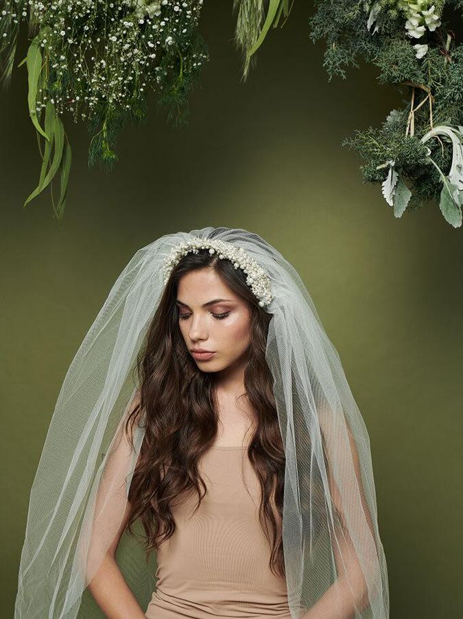 Leyla Wedding Veil With Headpiece Tulle And Pearls