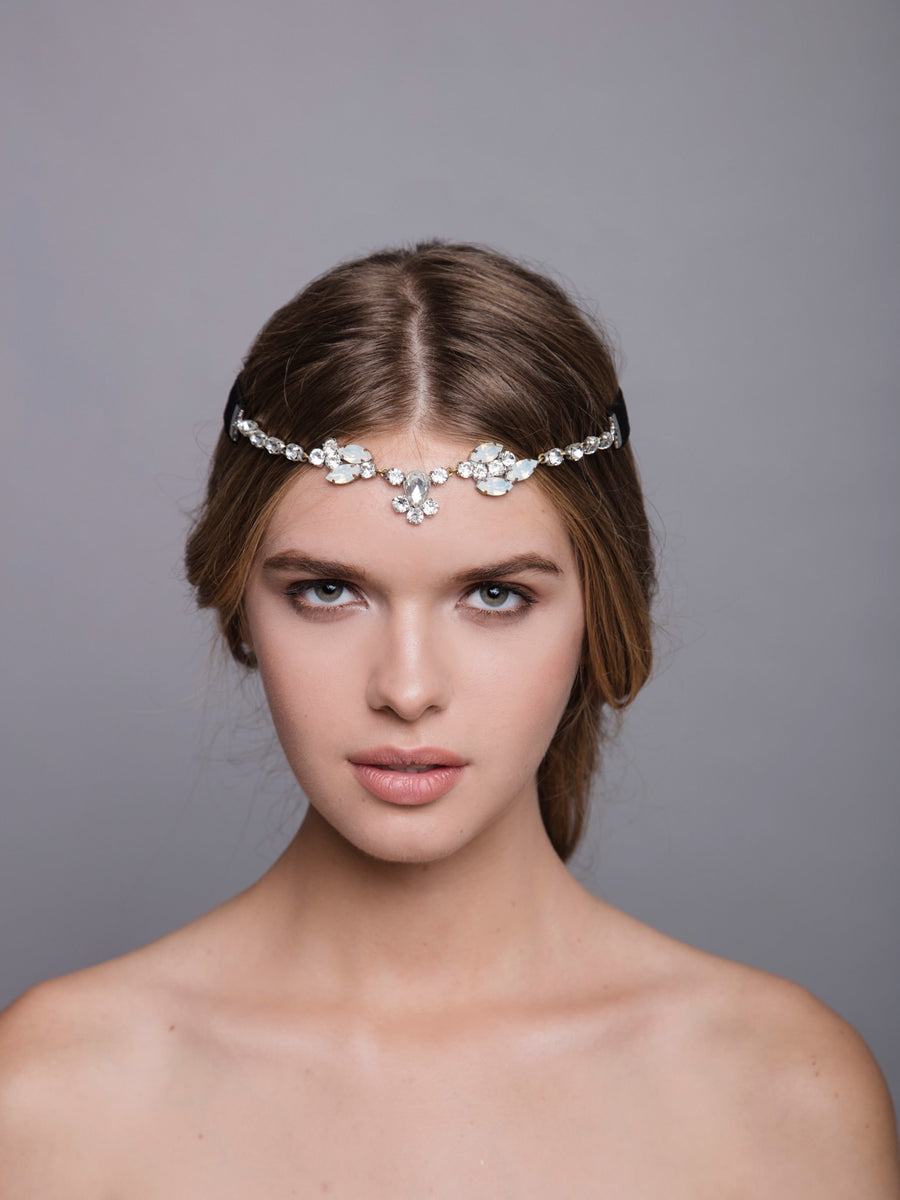 Romance In The Rain 12 Wedding Silver Headpiece With Swarovski And Brass