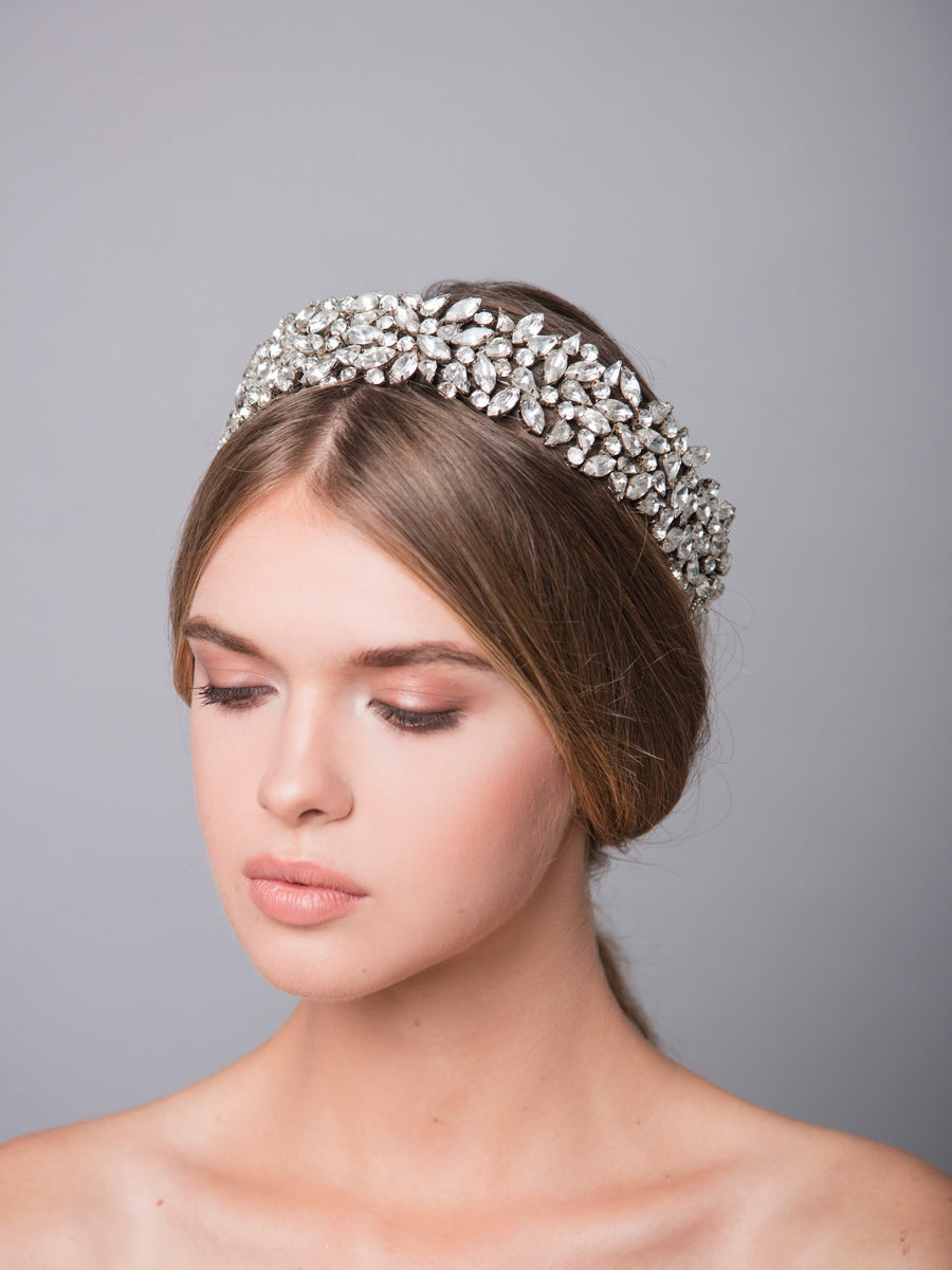 Romance In The Rain 4 Wedding Silver Headpiece With Swarovski And Brass