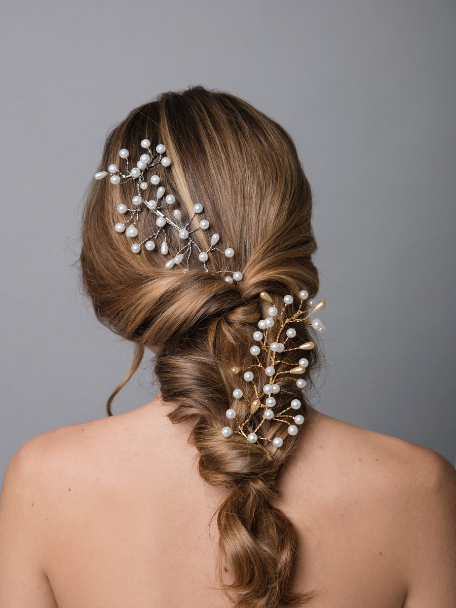 Romance In The Rain 8 Wedding Silver Comb With Pearls And Brass
