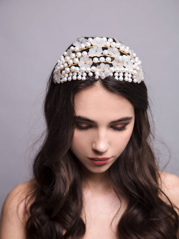 Something White 2 Wedding Gold Headpiece With Crystals Pearls And Brass