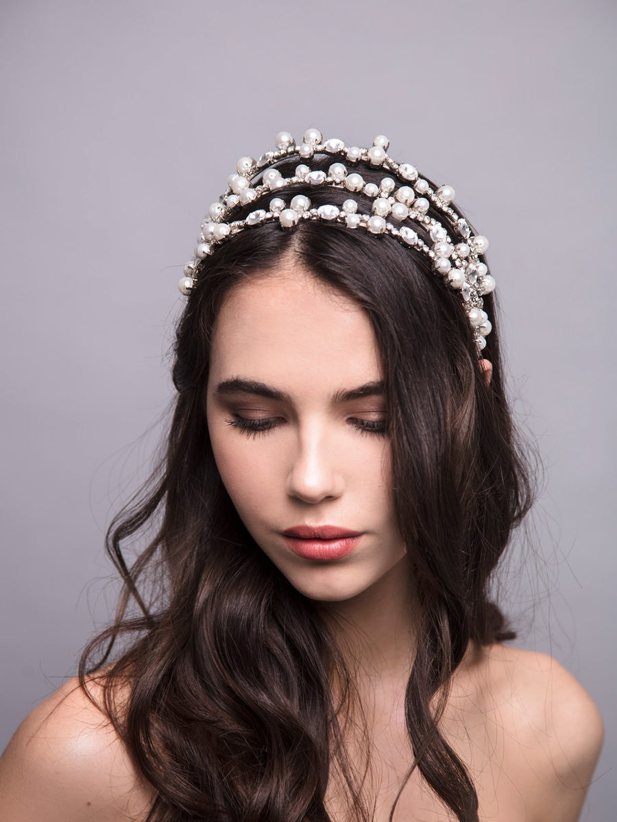 Something White 4 Wedding Silver Headpiece With Swarovski Pearls And Brass