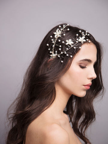 Something White 6 Wedding Silver Headpiece With Enamel Pearls And Brass