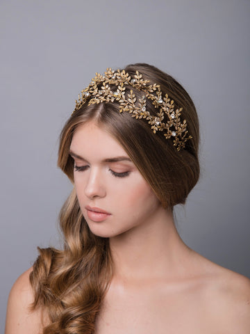Thyme 2 Bronze Wedding Headpiece With Swarovski And Brass