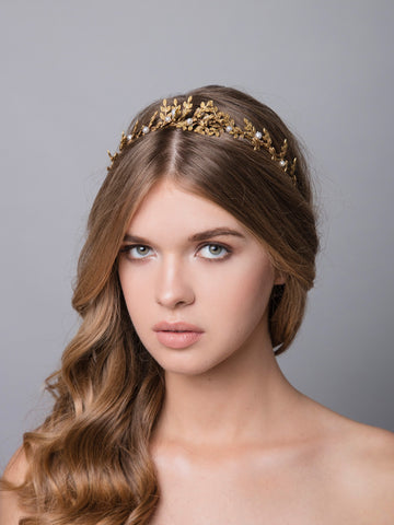 Thyme 3 Bronze Wedding Headpiece With Swarovski And Brass