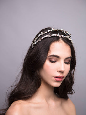 Thyme 7 Silver Wedding Headpiece With Swarovski And Brass