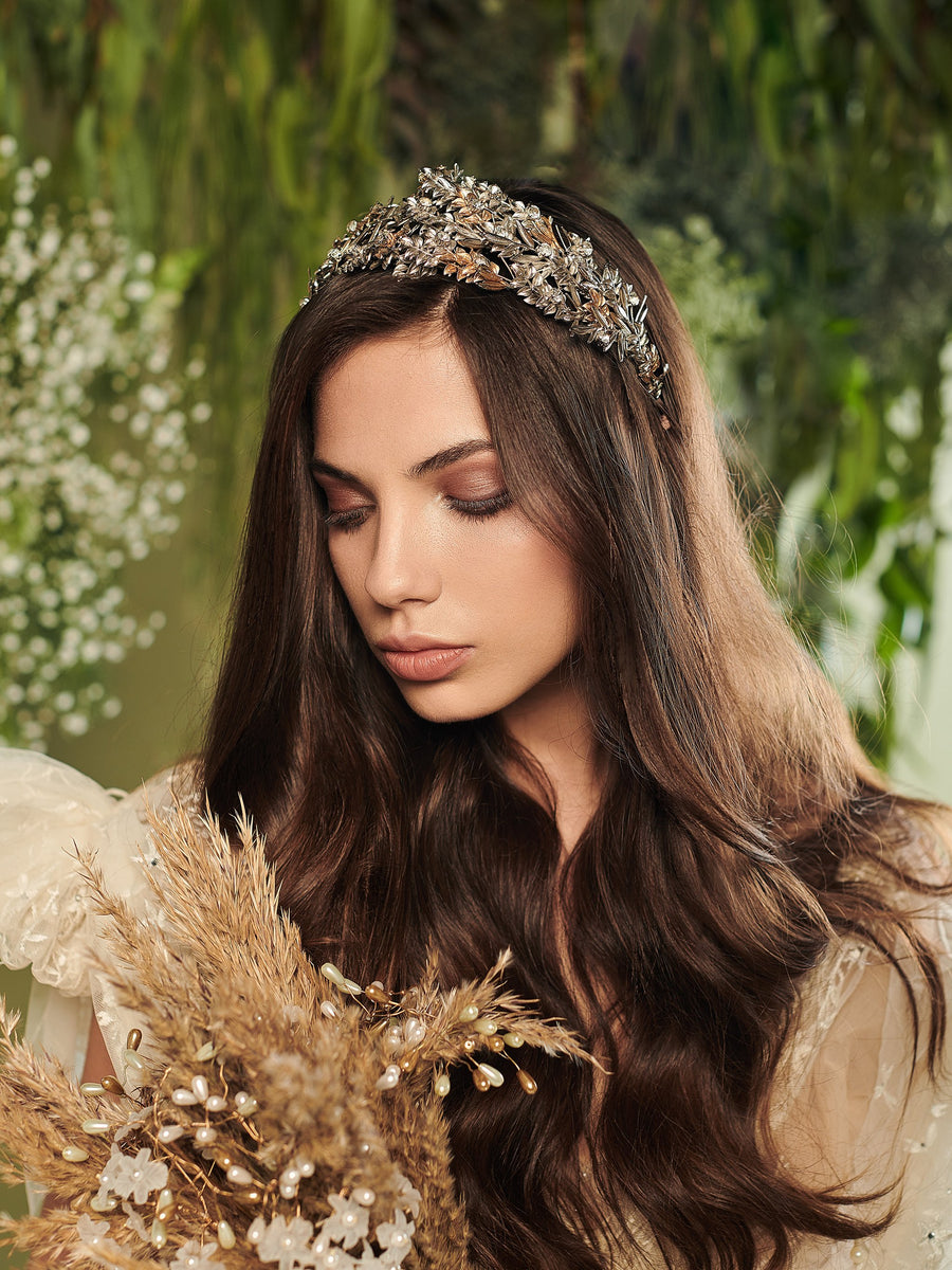 Under The Olive Tree 1 Silver Wedding Headpiece With Swarovski And Brass
