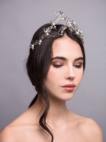Under The Olive Tree 14 Silver Wedding Headpiece With Pearls And Brass