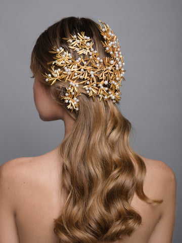 Under The Olive Tree 7 Gold Wedding Headpiece With Pearls And Brass