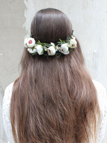 White Adela | Floral Headpiece