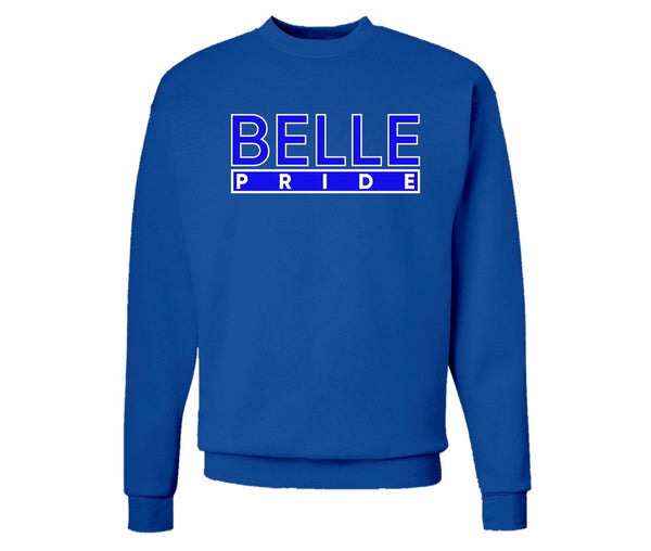 """Belle Pride"" Sweater in Royal Blue and White #HBCUPride (NC)"