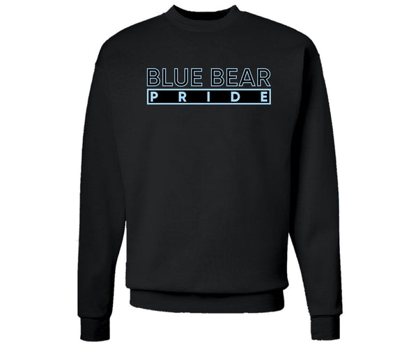 """Blue Bear Pride"" Sweater in Black and Columbia Blue (Livingstone College) #HBCUPride (NC)`"