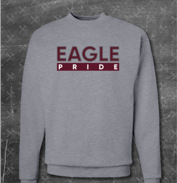 """Eagle Pride"" Crewneck Sweater In Heather Grey/Maroon #HBCUPride (NC)"