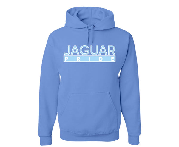 "The ""Jaguar Pride"" Hoodie in Columbia Blue/White #HBCUPride (GA)"