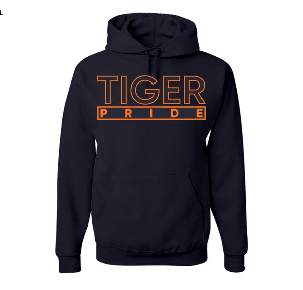 "The ""Tiger Pride"" Hoodie in Navy Blue/Orange #HBCUPride (GA)"