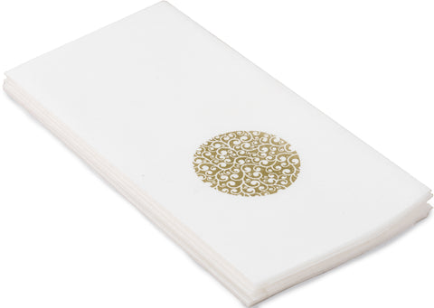 Gold Circle Linen Feel Airlaid Paper Guest Towels (Wholesale 500 Guest Towels)