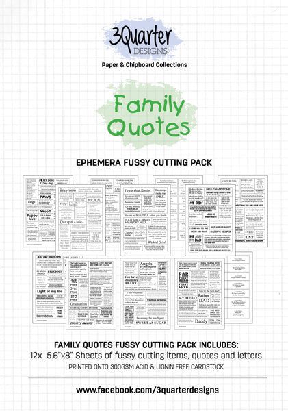 Ephemera Fussy Cutting Pack - Family Quotes - RELEASED April 1st