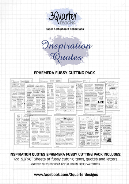 Ephemera Fussy Cutting Pack - Inspiration Quotes - RELEASED April 1st