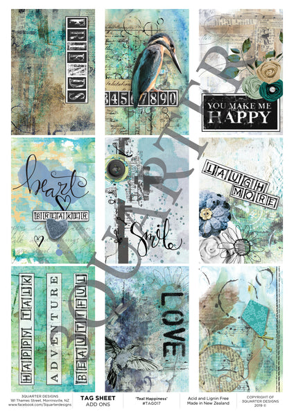 Tag Sheet Teal Happiness