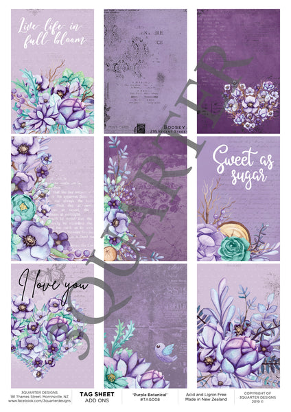 Tag Sheet Purple Botanical