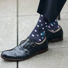 black and pink socks to wear with black shoes
