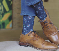 Blue paisley socks to wear with brown shoes