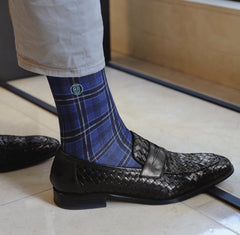 blue plaid socks to wear with black shoes