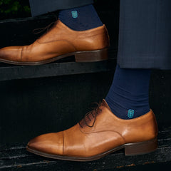 navy socks to wear with brown shoes