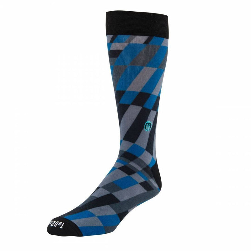The Earl - Blue, Grey and Black Grid Banded Dress Socks