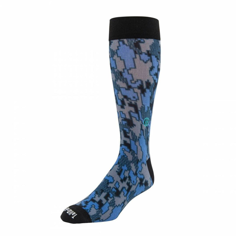 The Dennis, Big & Tall Men's Periwinkle Blue Camo Dress Socks, Banded Socks