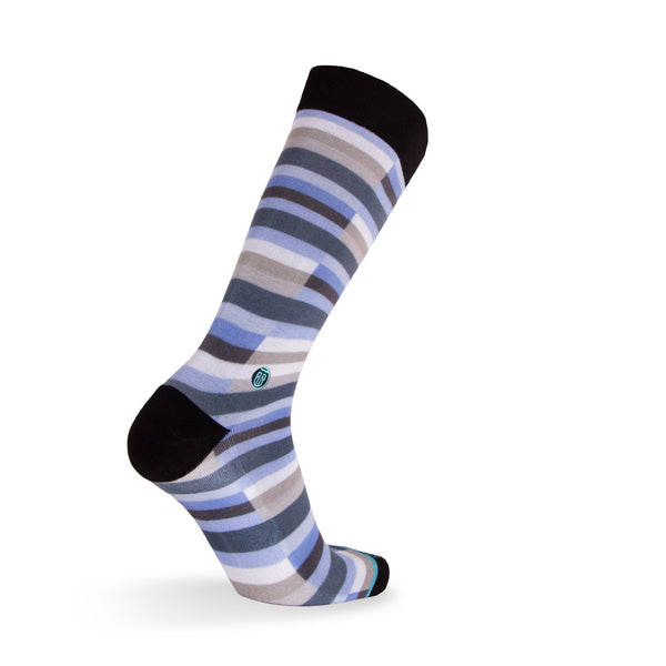 The Cary - Extra Cushioned - Blue and White Stripe Dress Socks