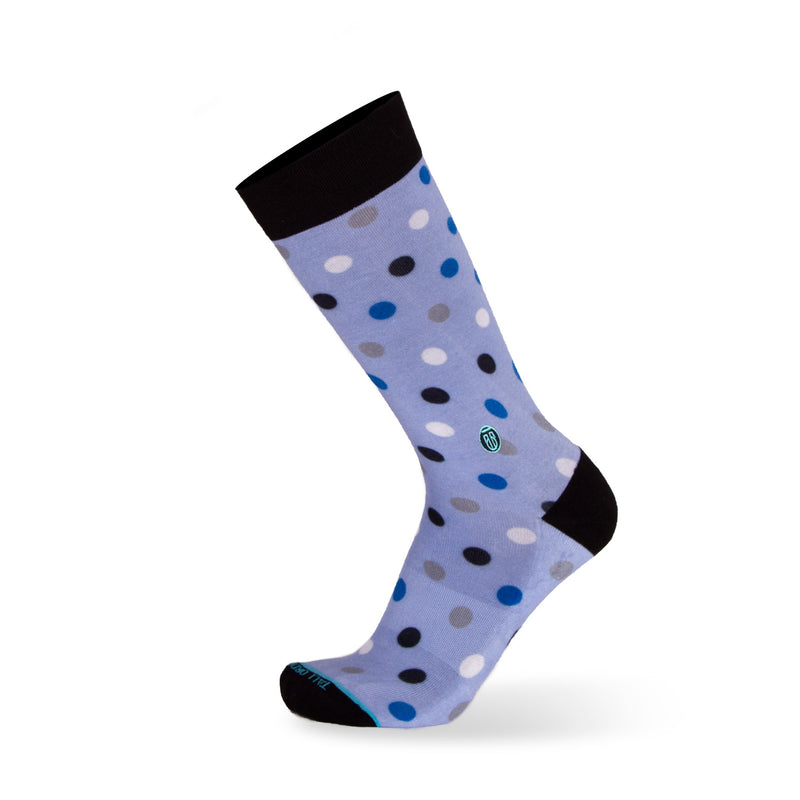 The Danny - Extra Cushioned - Light Blue Polka Dot Dress Socks
