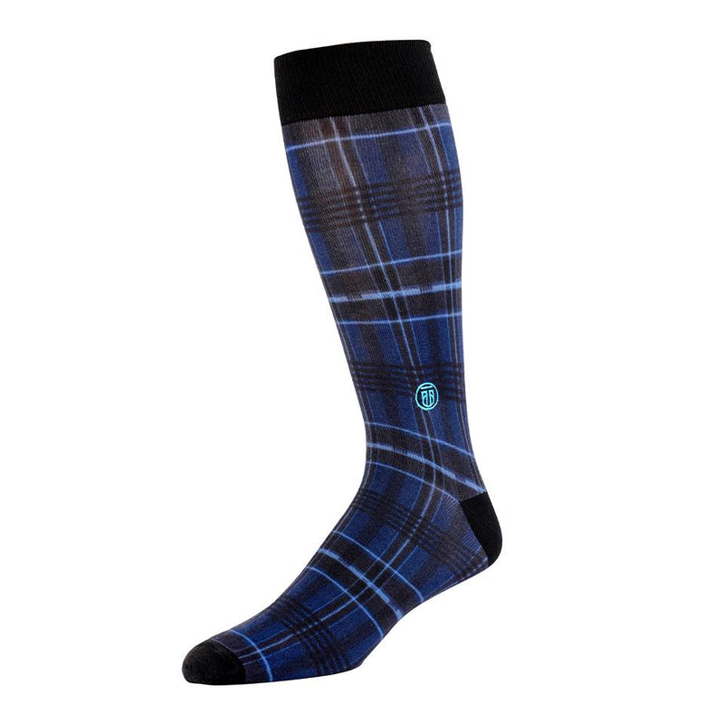 The Plaid - Blue Plaid with Black Heel Banded Dress Socks