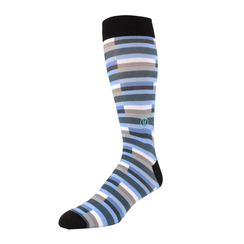The Cary - Blue and White Stripe Banded Dress Socks