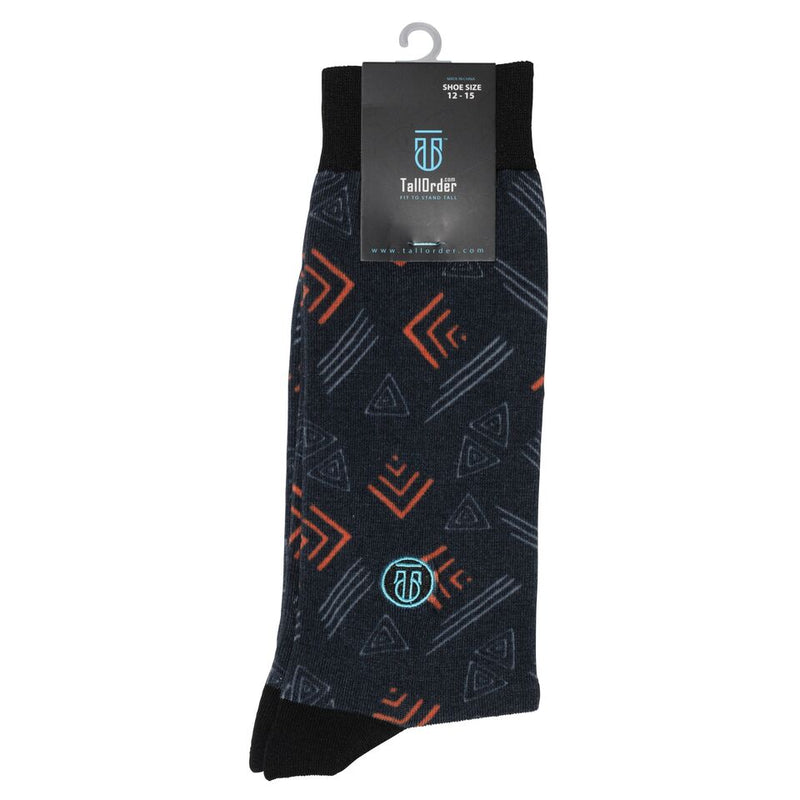 The Gary, Big & Tall Men's Orange/Grey Abstract Dress Socks, Banded Socks