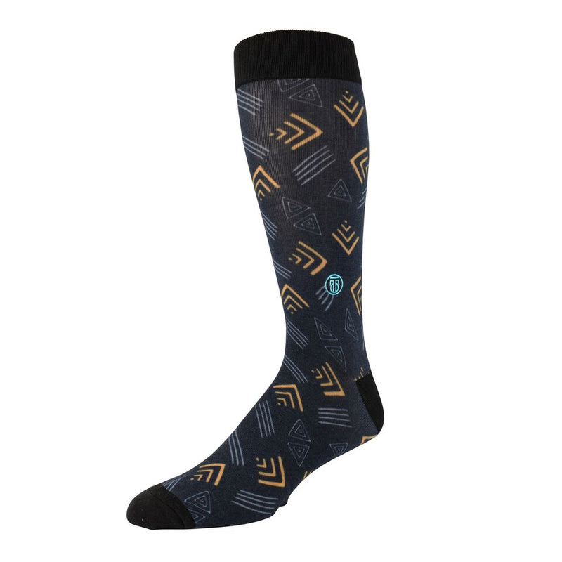 The Gary, Big & Tall Men's Yellow/Grey Abstract Dress Socks, Banded Socks