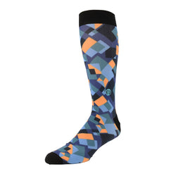 The Richie, Big & Tall Men's Southwest Blue Dress Socks, Banded Socks