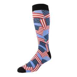The Scott - Classic Fit - Light Blue American Flag Dress Socks