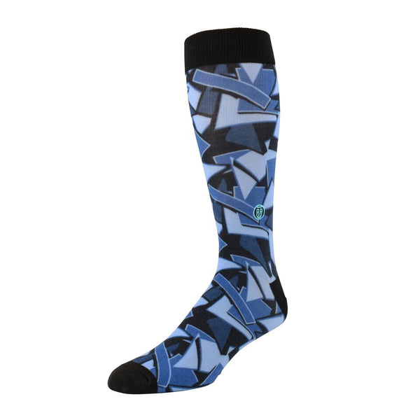 The Steve, Big & Tall Men's Blue Abstract Dress Socks, Banded Socks