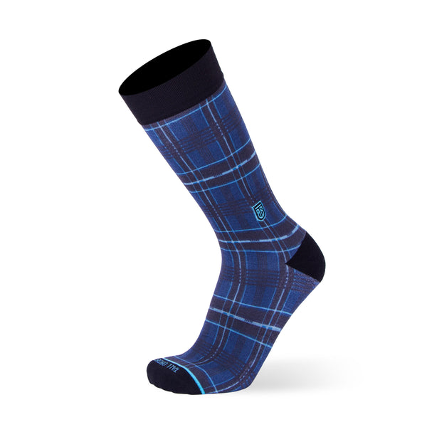 The Plaid - Extra Cushioned - Blue Plaid Dress Socks