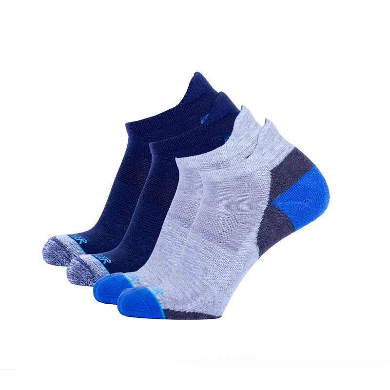 Heather Grey With Cobalt & Navy Heather Grey Two Pack - Extra Cushioned Low Cut Socks