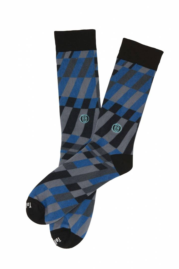 The Earl, Big & Tall Men's Blue/Grey/Black Dress Socks, Banded Socks