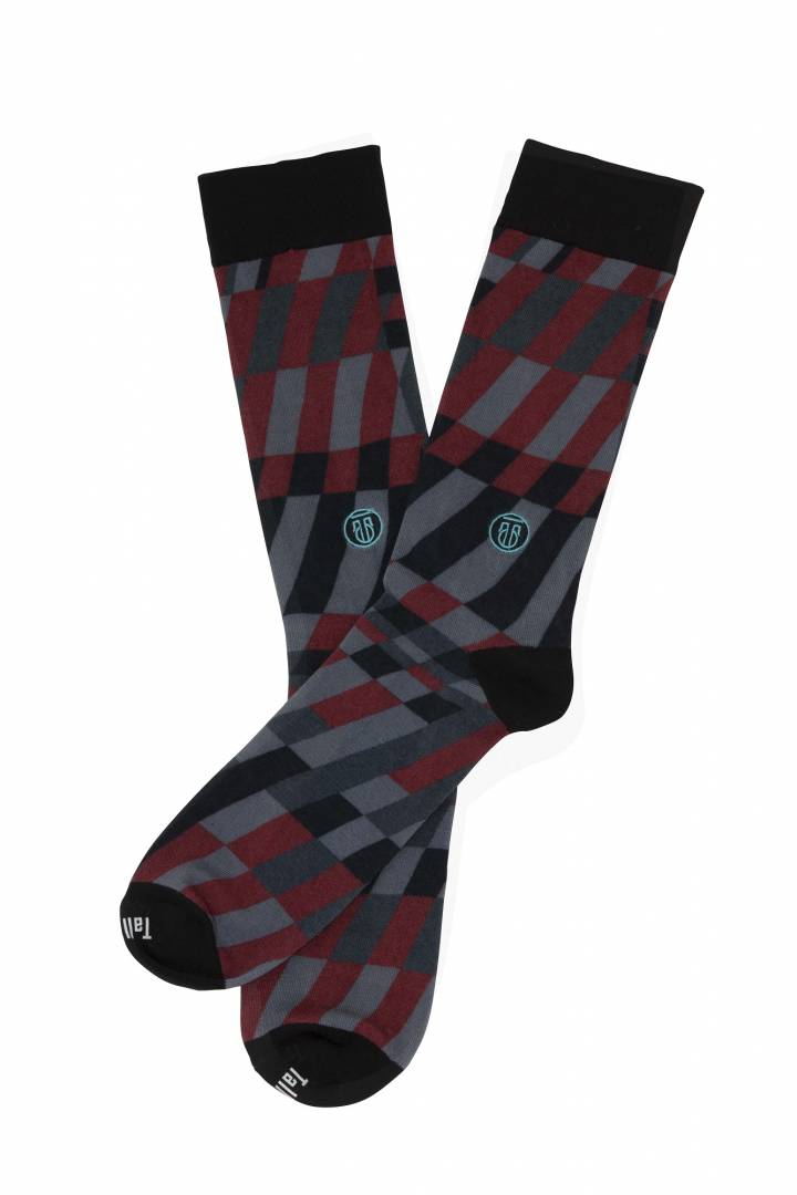 The Earl, Big & Tall Men's Red/Grey/Black Dress Socks
