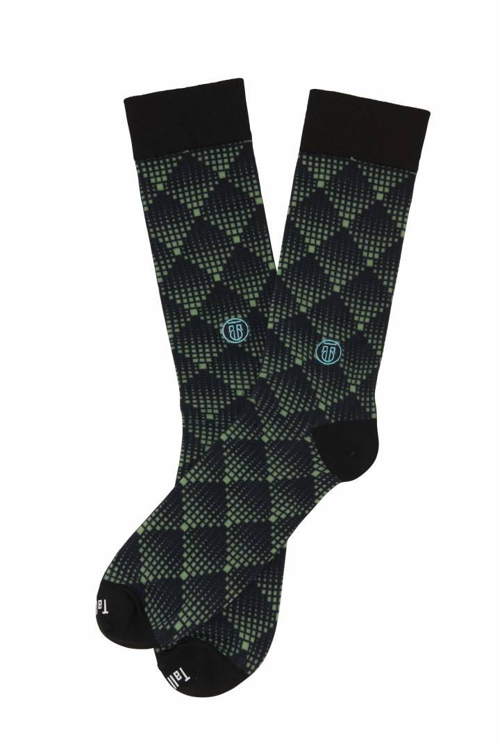 The Pete, Big & Tall Men's Lime Green Abstract Dress Socks, Banded Socks