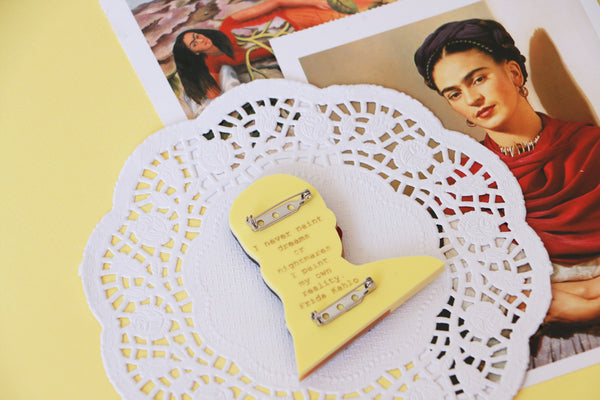 Frida Kahlo Brooch - The Two Fridas - Yellow Pastel Colourway