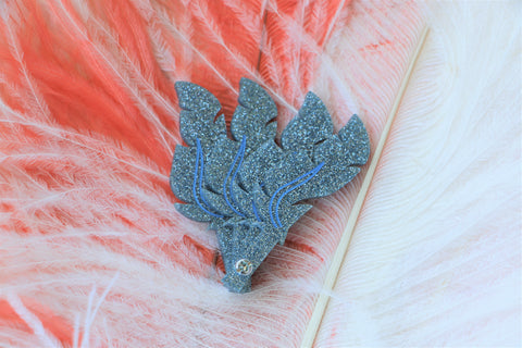 Hide and Reveal Feather Fan Brooch
