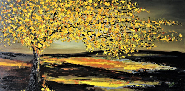 Autumn by Preethi Arts- 24x48 - Original Contemporary Modern Abstract Paintings by Preethi Arts