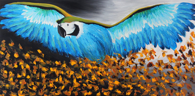Big Blue Bird by Preethi Arts- 24x48 - Original Contemporary Modern Abstract Paintings by Preethi Arts