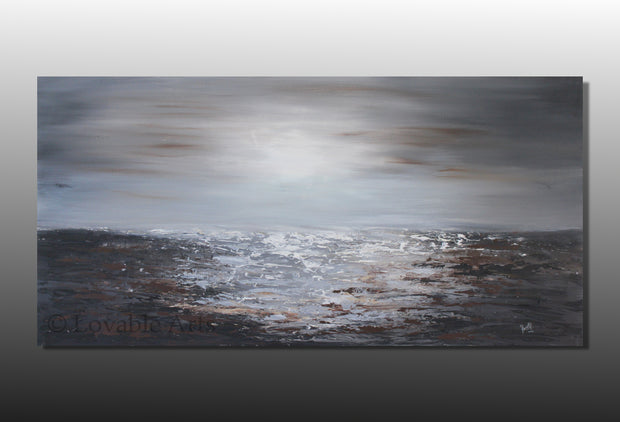 By The Lake by Preethi Arts- 24x48 - Original Contemporary Modern Abstract Paintings by Preethi Arts