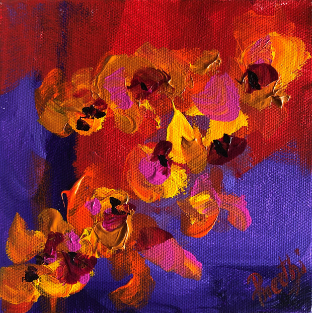 Caring 3 by Preethi Arts- 6x6 - Original Contemporary Modern Abstract Paintings by Preethi Arts
